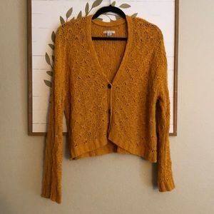 Mustard yellow cropped cardigan